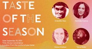 The artwork for Taste of the Season featuring headshots of Kristoffer Diaz, Mathilde Dratwa, Carson Kreitzer, and TyLie Shider