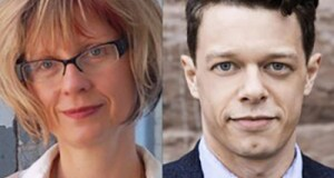 Headshots of playwright Kira Obolensky and David Darrow. Kira has blonde hair, wears glasses and a white shirt. David has dark hair and wears a navy blue suit. Both are looking directly at the camera, with half smiles.