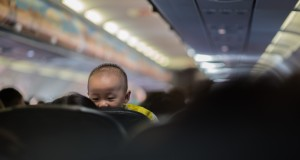 Young child on airplane