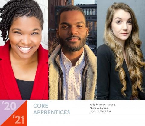 Headshots of the 2020-2021 Core Apprentice playwrights Kelly Renee Armstrong, Nicholas Kaidoo, and Keyanna Khatiblou