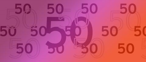 """A maroon to pink to red rectangle with many different sized """"50's"""" written on it."""