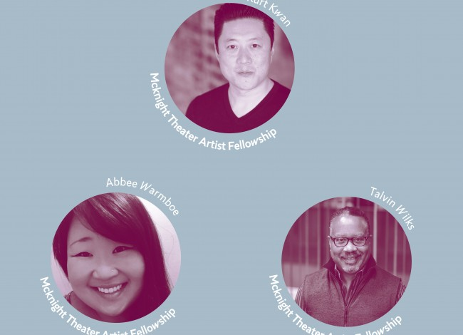 The 2020-2021 McKnight Theater Artist Fellows Kurt Kwan (Actor), Abbee Warmboe (Properties Designer), and Talvin Wilks (Director)
