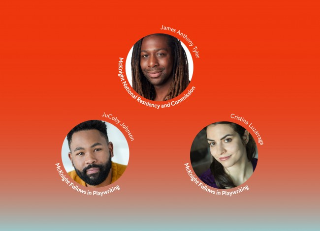 The headshots of James Anthony Tyler, JuCoby Johnson and Cristina Luzárraga appear in circles in front of a red background that fades down to blue-gray. Their names appear above their circle and wrap around its outer edge.