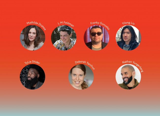The headshots of the 2021-2024 Core Writers Mathilde Dratwa, L M Feldman, Franky D. Gonzalez, Yilong Liu, TyLie Shider, Deborah Yarchun, and Nathan Yungerberg appear in front of a red background that fades to blue-gray.